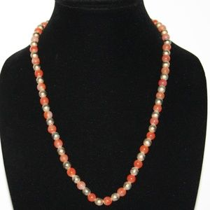 Beautiful orange and gold necklace Vintage 24""